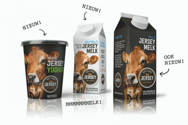 Holland Jersey volle melk, halfvolle melk en yoghurt